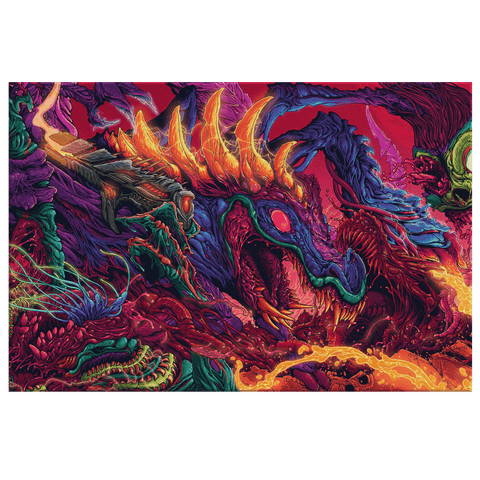 Colorful Dragon Monster Trippy Fantasy Framed Canvas Wall Art Print | Psychedelic Dragon Wall Hanging