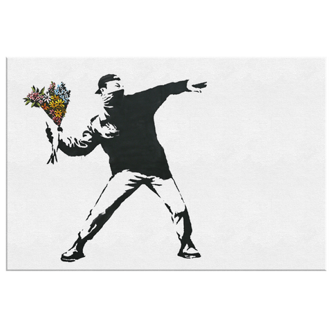 Banksy Flower Thrower on Framed Canvas Wall Art Print | Banksy Canvas Print Contemporary Thoughtful Street Art Painting