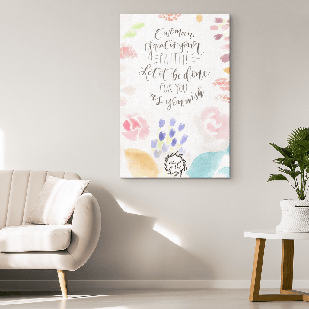 Inspiratioinal Bible Verse Quote Christian Woman Blessed is She Framed Canvas Wall Art Print Home Decor