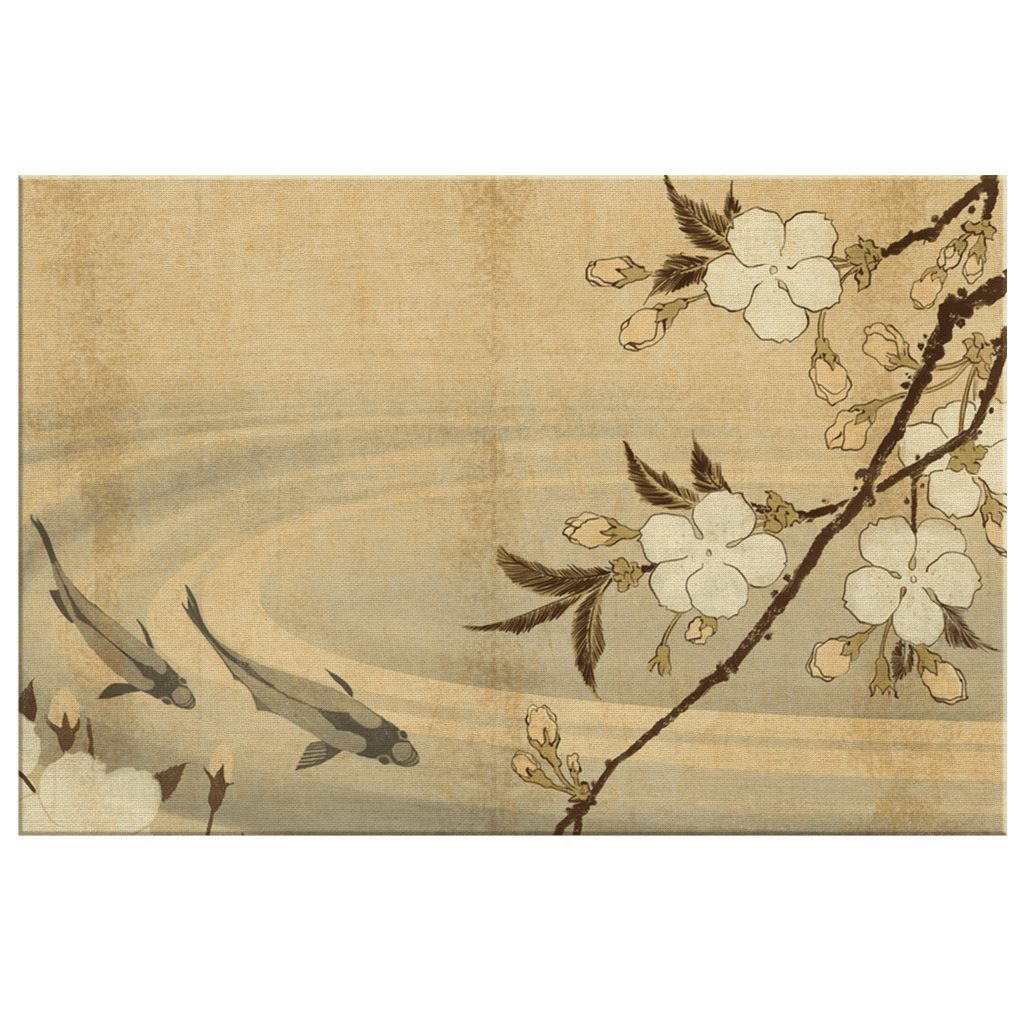 Vintage Rustic Classic Japanese Painting on Framed Canvas Wall Art Print Koi Fish Flowers Serene