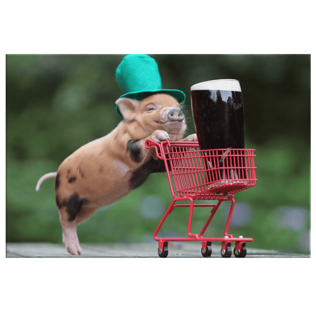 Guiness Beer Irish Pub Decor St. Patricks Day Cute Pig Framed Canvas Wall Art Print