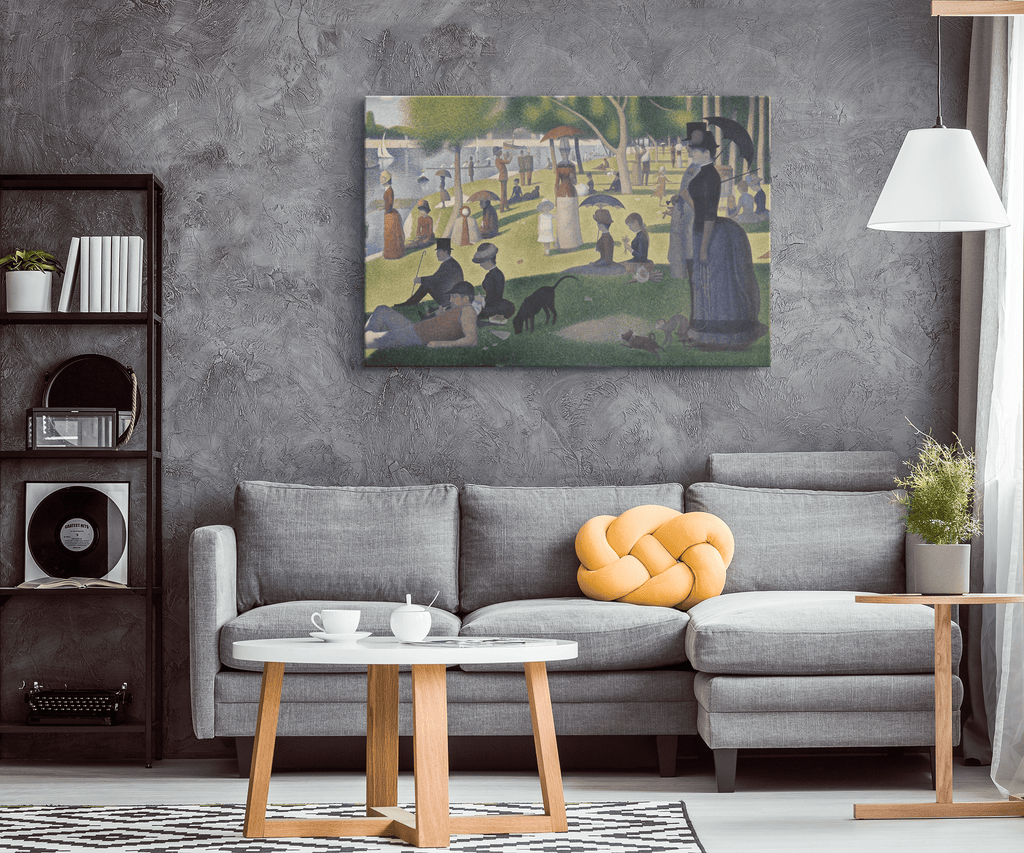 A Sunday Afternoon On The Island Of La Grande by Georges Seurat Painting on Framed Canvas Wall Art Print Classic Painting