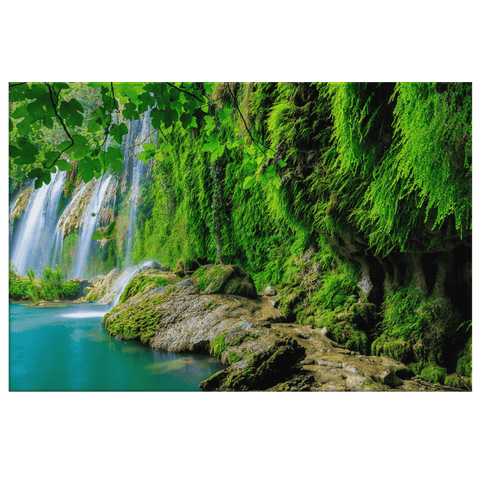 Tropical Forest Waterfall Framed Canvas Photo Print
