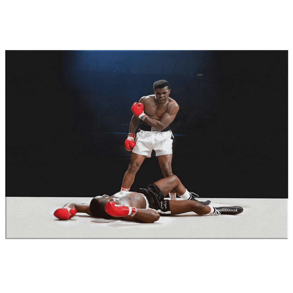 Muhammad Ali's Greatest Fight Fan Art Print on Framed Canvas Photo | Boxer Muhammad Ali's Best Knock Out Photo Print | Boxing Gift