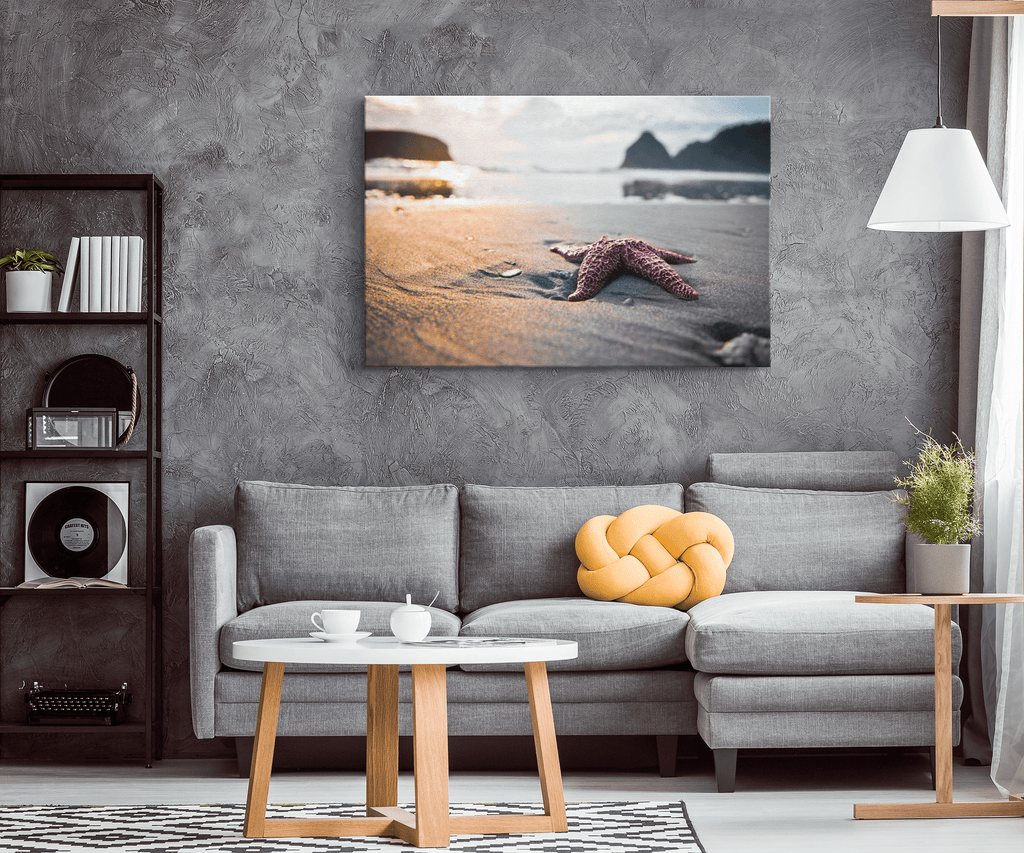 Purple Starfish on Beach Framed Canvas Photo Print