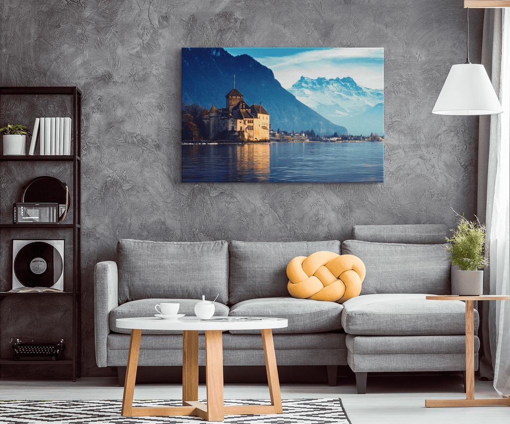 Switzerland Mountain Lake Framed Canvas Photo Print