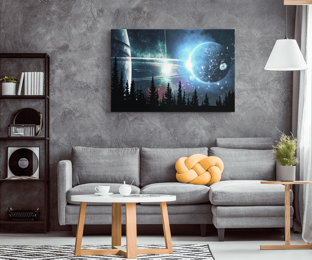 Space Galaxy Night Framed Canvas Photo Print