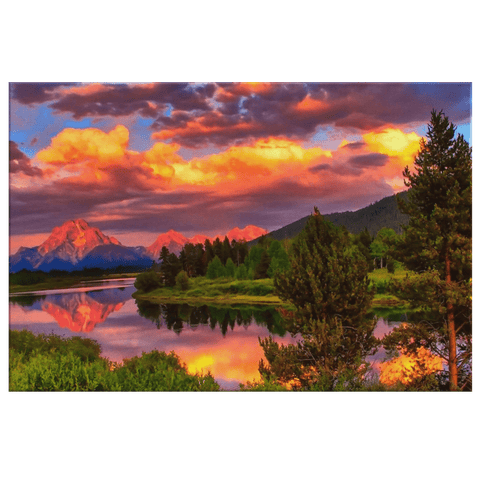 Amazing Sunset Gorgeous River and Mountain Framed Canvas Photo Print