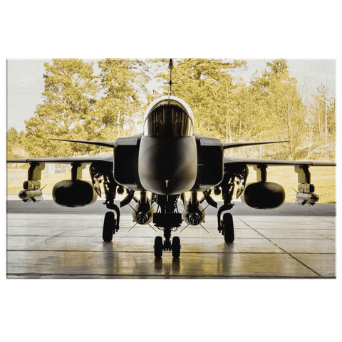 JAS 39 Gripen Military Jet Aircraft Framed Canvas Photo Print