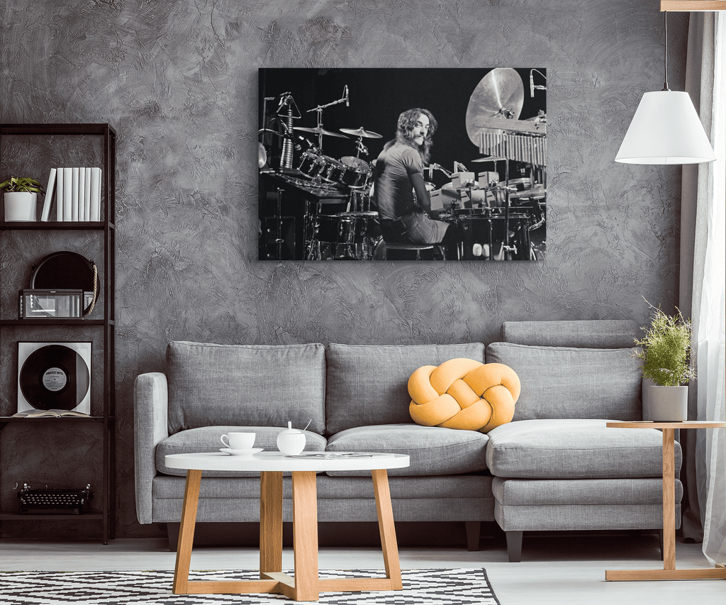 Neil Peart Rush Drummer Vintage Photo Print on Framed Canvas Wall Hanging Art | Classic Rock Drums