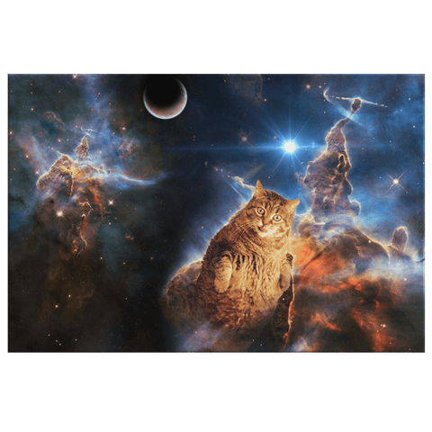 Funny Space Cat Galaxy Nebula Kitty Art Print on Framed Canvas Wall Hanging | Astro Cosmic Kitty Decor