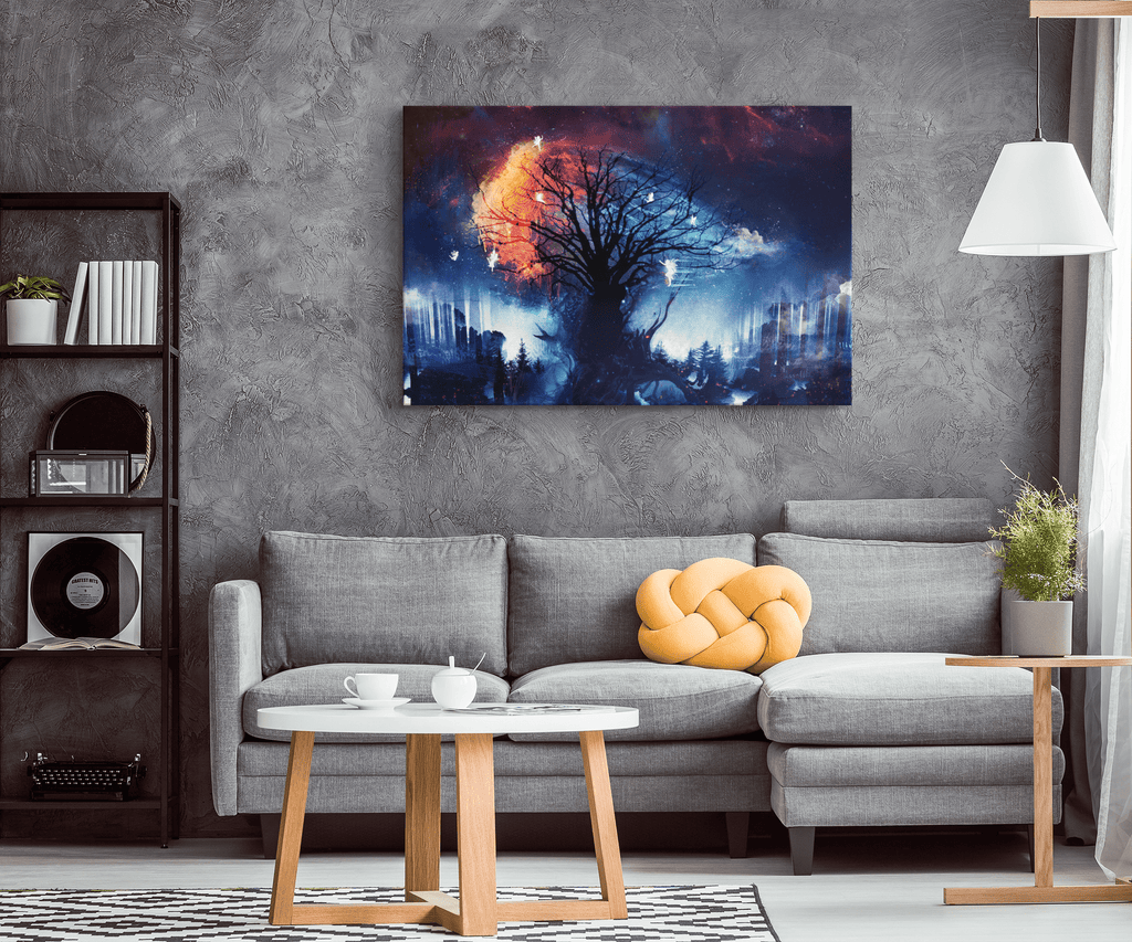 Digital Tree Fairies Star Fire Fantasy Framed Canvas Wall Art Print | Mystical Fantasy Decor Wall Hanging