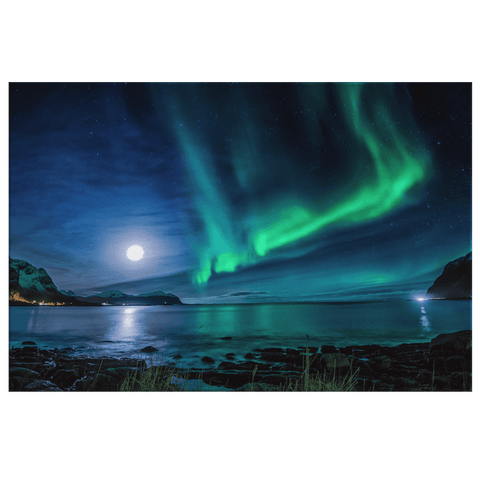 Norway Lofoten Rivers Night Amazing Aurora Framed Canvas Photo Print