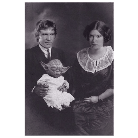 Star Wars Family Portrait Han Solo, Princess Leia and Yoda on Framed Vintage Framed Canvas Photo Print | Funny Star Wars wall art Print Gift
