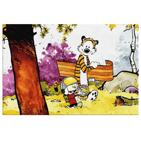 Calvin And Hobbes Cartoon Sled Adventure Kids Family Framed Canvas Print Wall Hanging