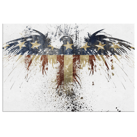 American Flag Eagle USA Patriot Wall Decor Art Print on Framed Canvas | Patriotic Wall Art