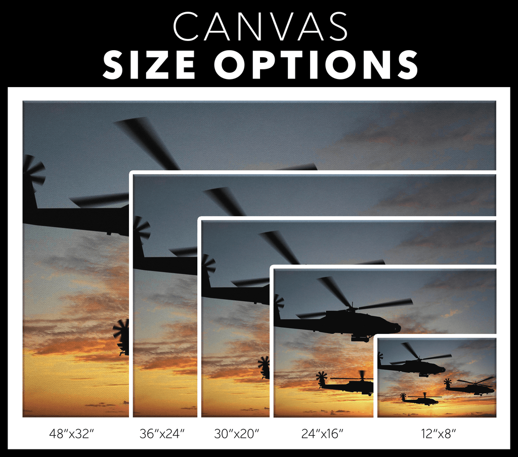 Apache Helicopters in Sunset US Army Military Photo Print on Framed Canvas Wall Hanging | Veteran Pilot Decor