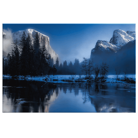 Frozen Yellowstone National Park Mountain and Lake Framed Canvas Photo Print
