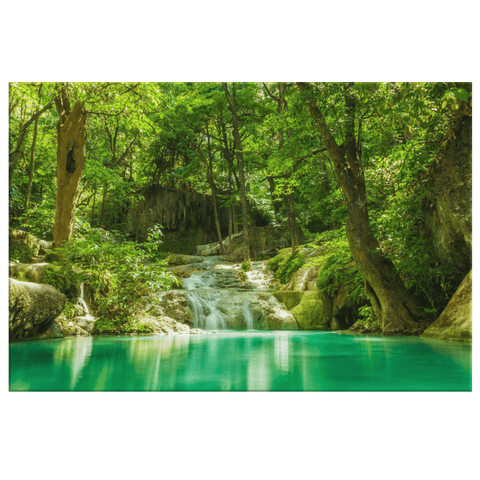 Green Tropical Forest Waterfall pool in the Jungle Framed Canvas Wall Art Photo Print