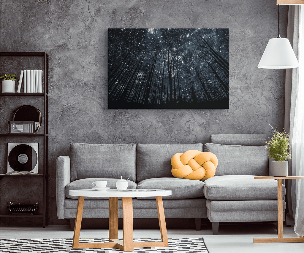 Starry Night Sky Milky Way Nature Forest Stars Photo Print on Framed Canvas Wall Art