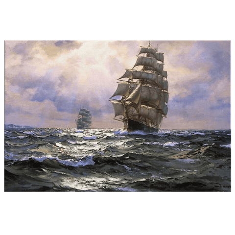 Sailing Ships Ocean Sail Boats Vintage Painting on Framed Canvas Wall Art Spanish Galleon