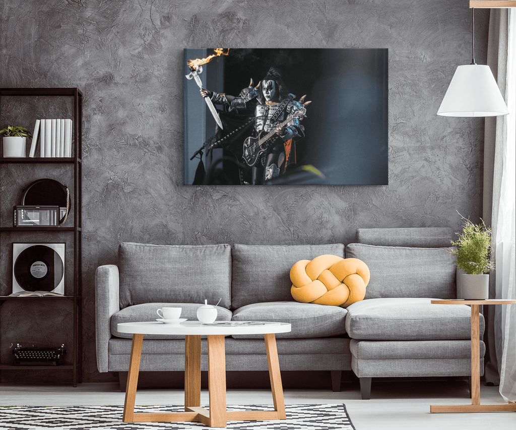 Gene Simmons Kiss Rock Band Concert Framed Canvas Photo Print Wall Art | Classic Rock Decor Kiss Fan Gift