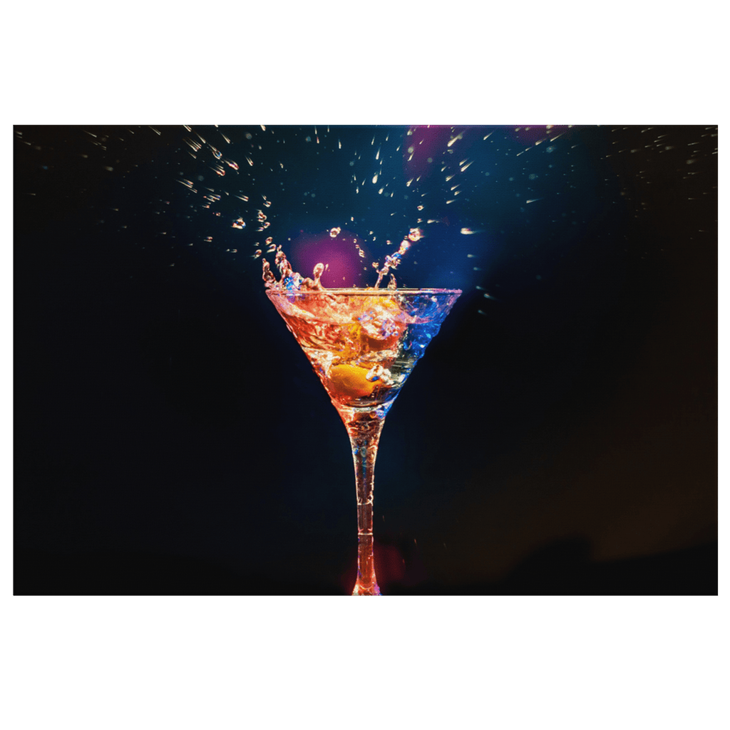 Martini Cocktail Lounge Bar Decor Modern Chic Stylish Splash Framed Canvas Wall Art Print