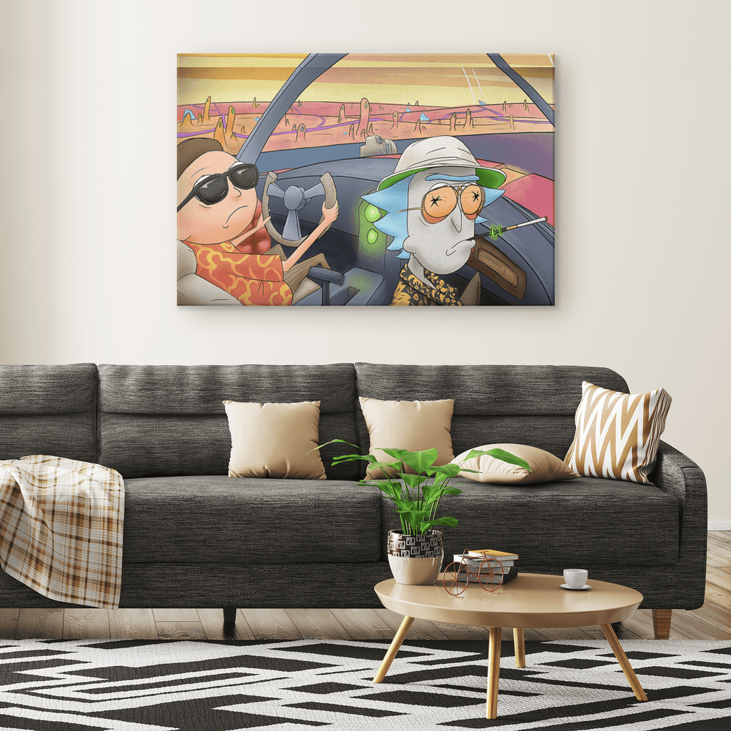 Rick And Morty Canvas Wall Art Print | Fear And Loathing Bat Country Mash-Up Fan Gift