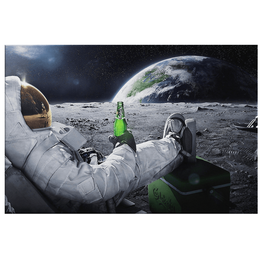 Astronaut on Moon Relaxing With Beer Art Print on Framed Canvas Wall Hanging | Beer Lover Gift in Space Decor