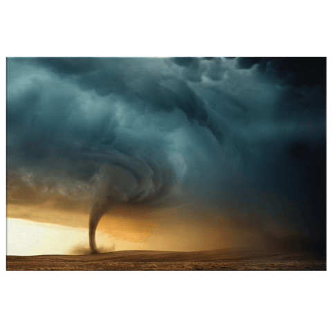 Furious Storm Tornado in the Desert Framed Canvas Photo Print