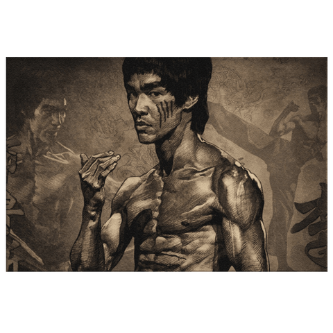 Bruce Lee Framed Canvas Wall Art Print | Enter The Dragon Wing Chung Kung Fu Movie Poster Fan Art