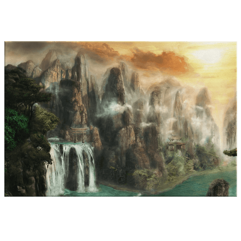 Mystical Asian Nature Beautiful Waterfall Ancient Temple Oriental Landscape Painting on Framed Canvas Art Print
