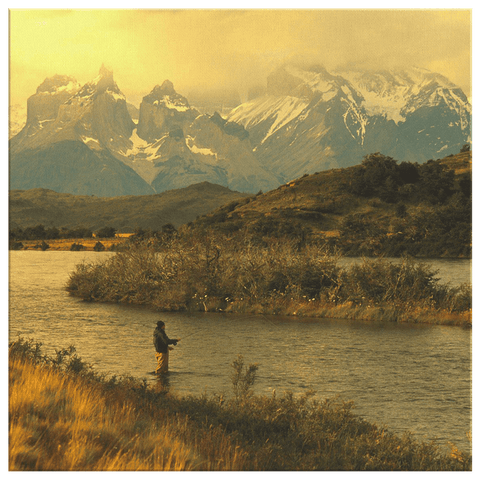 Fly Fishing Man Framed Canvas Photo Print