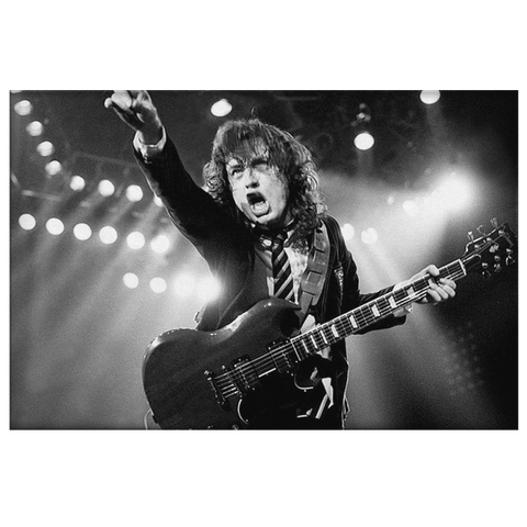 Angus Young ACDC on Framed Canvas Wall Photo Print | AC/DC Lead Guitarist Classic Rock Band Fan Art Gift | Rock Star Rockstar Wall Art