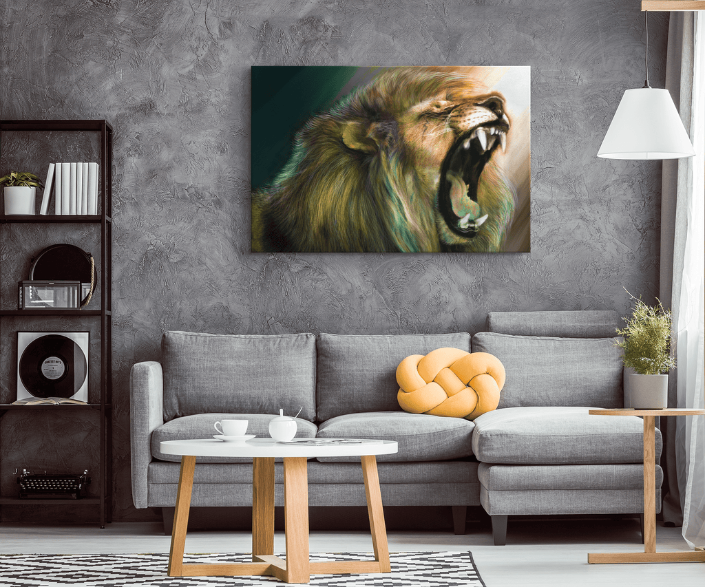 Digitally Painted Multi Colored Roaring Lion Framed Canvas Wall Art Print | Digital Roaring Lion Wall Hanging