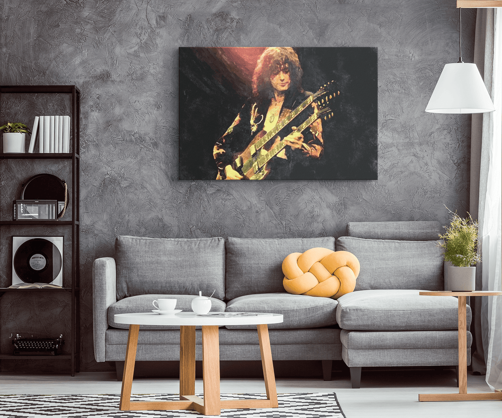 Jimmy Page Guitar Led Zeppelin Classic Rock Music Decor | Framed Canvas Wall Art Print Painting | Fathers Day Gift