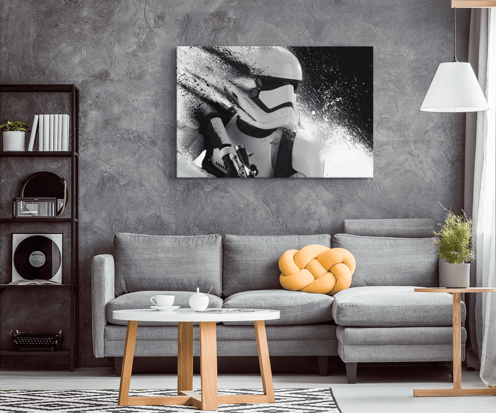 Storm Trooper Art Print on Framed Canvas Wall Hanging | Star Wars Photo Print Fan Gift | Rogue One Mandalorian