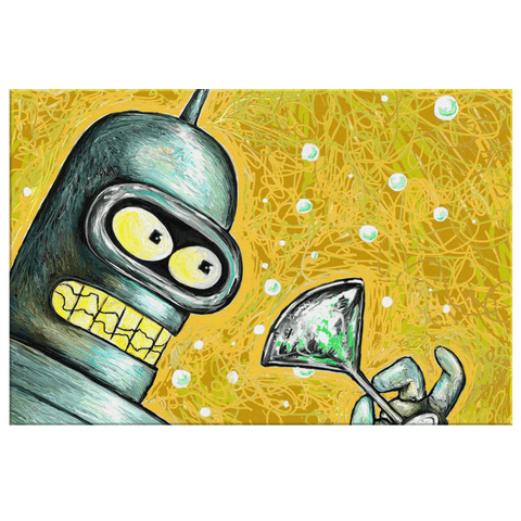 Futurama Bender with Martini Wall Art Print on Framed Canvas Painting | Futurama Art Gift For Fan