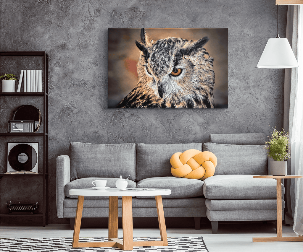 Great Horned Owl Photo Print on Framed Canvas Wall Art | Owl Wildlife Photography