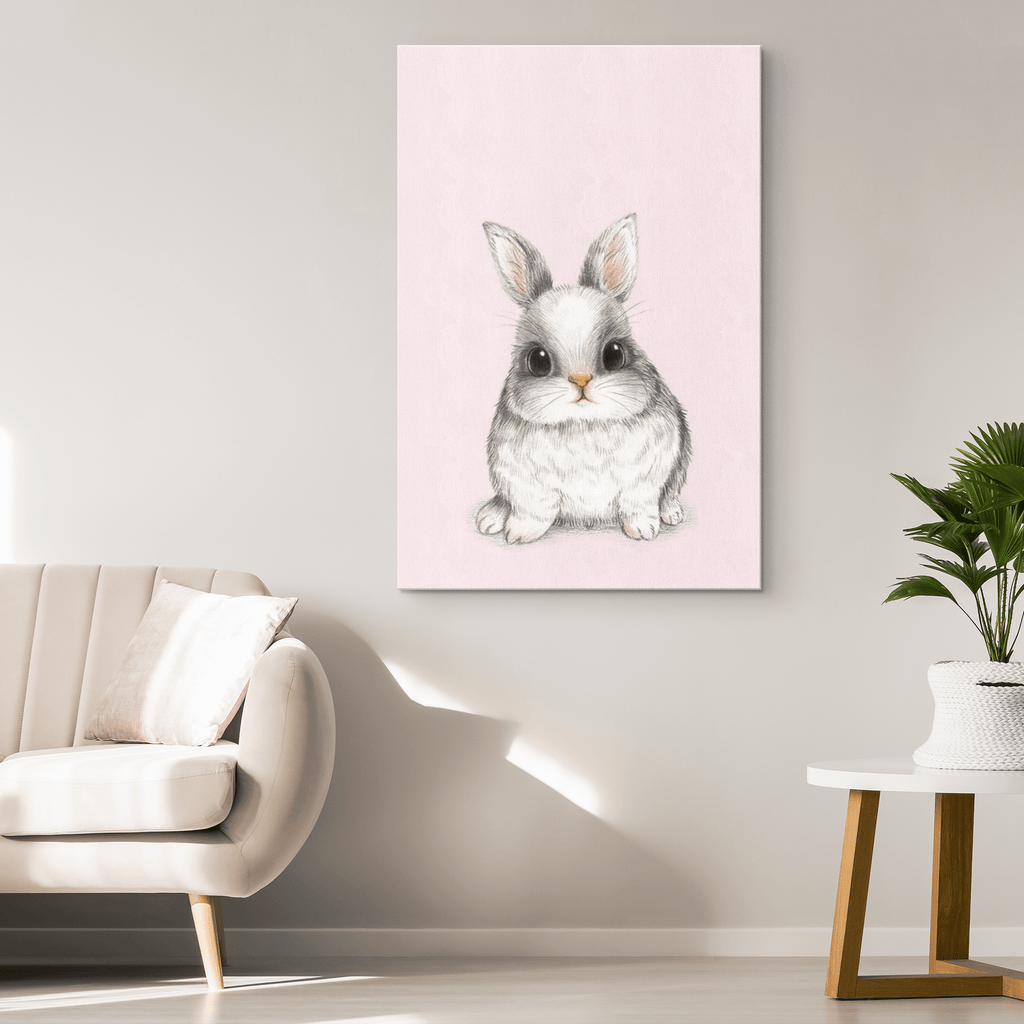 Nursery Decor Woodland Rabbit Pink Canvas Wall Art Print for Baby Shower Gift | Nursery Art Baby Girl Boy Room Cute Bunny