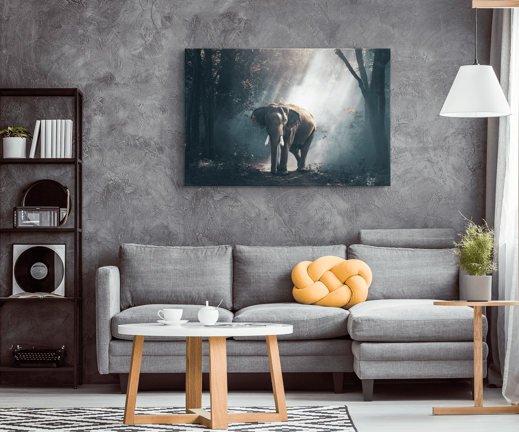 Elephant in Forest Painting on Framed Canvas Wall Art Print | Wildlife Nature Scene