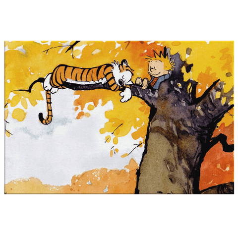 Calvin and Hobbes Cartoon Wall Art Print on Framed Canvas Wall Hanging | Cute Fan Gift