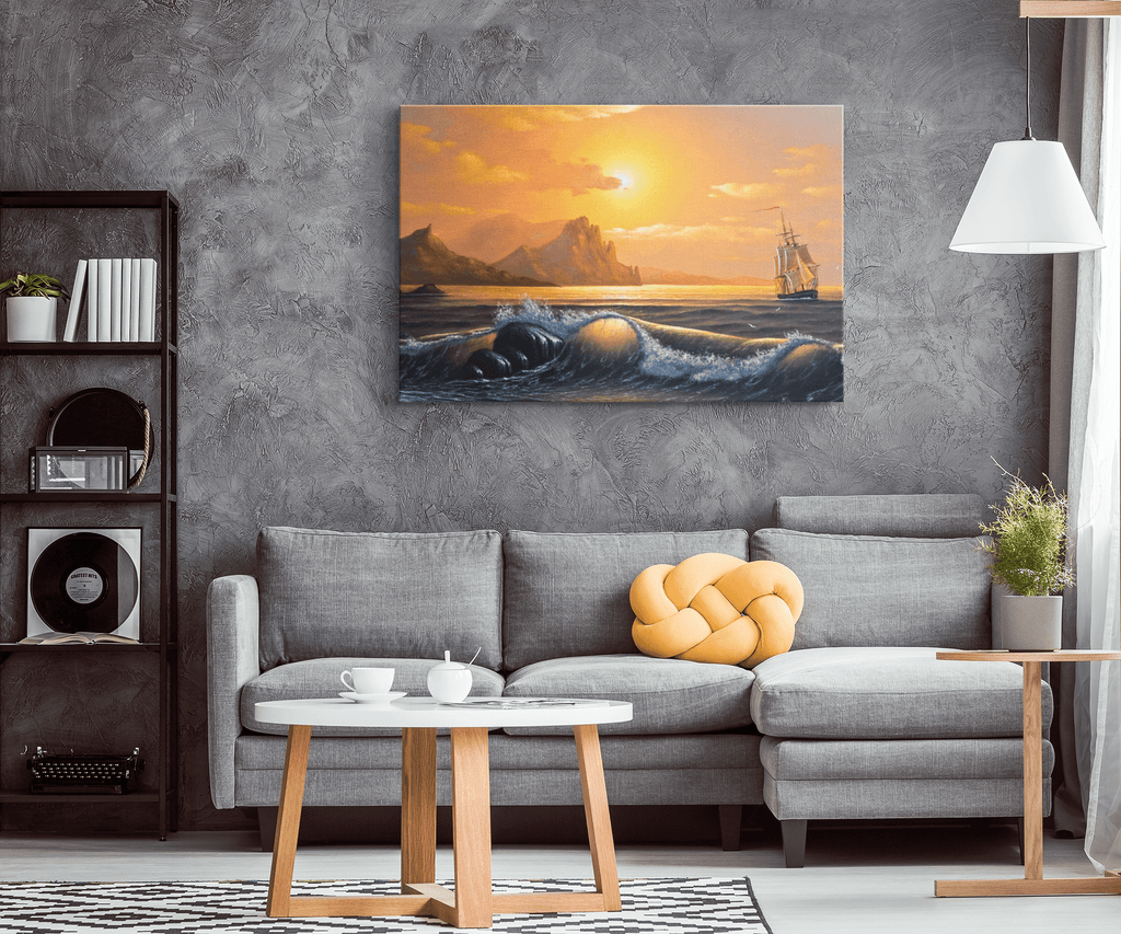 Golden Sky and Ship Sails at Sunset Framed Canvas Wall Art
