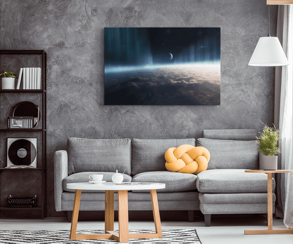 Planet Earth Orbit Atmosphere Aurora Moon Photo From Space Station on Framed Canvas Wall Decor