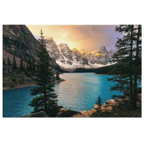 Moraine Lake Banff National Park at Sunset Framed Canvas Photo Print