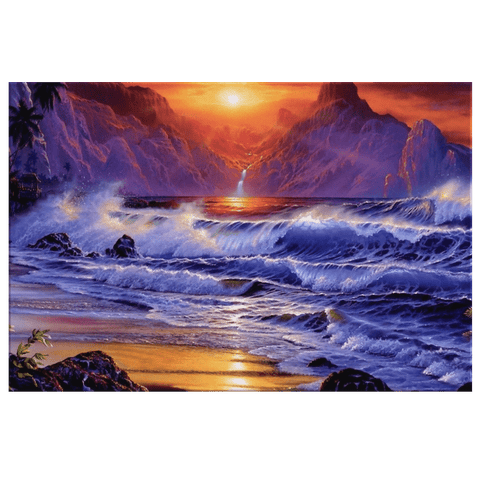 Beautiful Sunset Sea Shore Sea Waves Rocky Mountains Red Sky Dark Cloud Framed Canvas Wall Art