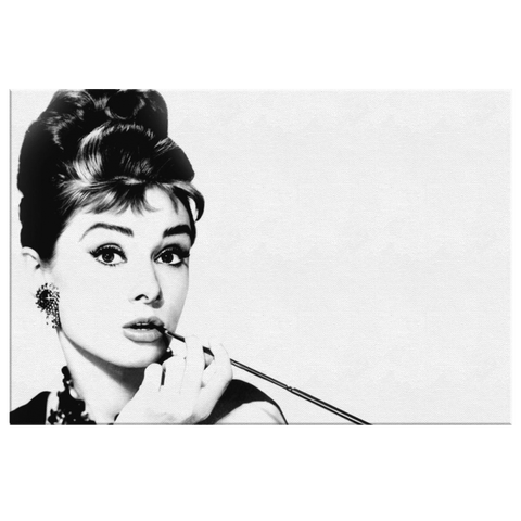 Audrey Hepburn Hollywood Actress Photo Print on Framed Canvas Photo Print Wall Hanging | Black & White Modern Living Room Decor