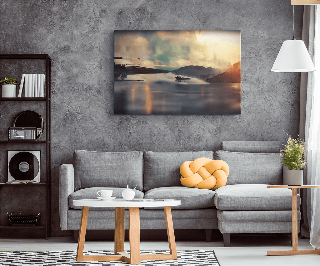 Star Wars X-Wing Over Water Framed Canvas Wall Art