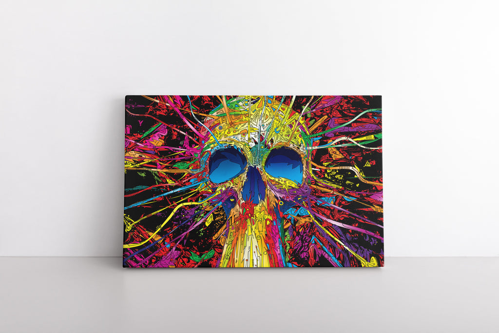 Colorful Trippy Skull Art Print on Framed Canvas Wall Painting | Colourful Psychedelic 420 Art