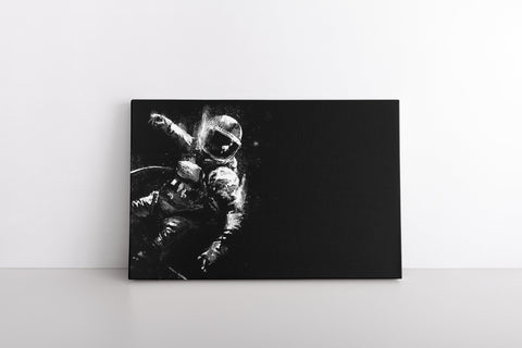 Black White Astronaut painting Monochrome NASA Art Print on Framed Canvas Wall Hanging